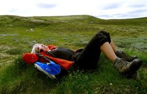 Annikki i Forollhogna nasjonalpark, samler inspirasjon.