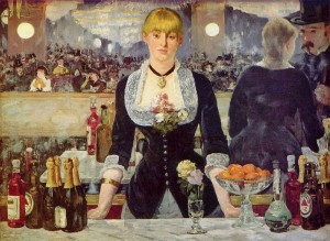 Bar i Folies-Bergère av Edouard Manet, 1881 - 82. (Kilde: Wikimedia commons)