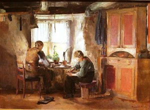 Bygdeskomakere, malt av Harriet Backer. Kilde: Wikimedia commons