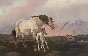 Hoppe med føll og ulv i fjellandskap. Elisabeth Sinding. (Kilde: gwpa).