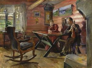 Den røde stue på Kolbotn, nær Alvdal, malt av Harriet Backer. Kilde: Wikemedia.