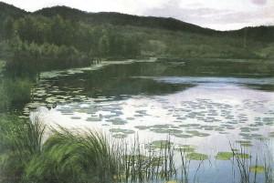 Sommernatt, malt av Kitty Kiellanf i 1886. Kilde: Wikimedia commons.