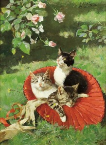 Tre katter i  en hatt , malt av Elisabeth Sinding i 1888. Kilde: gwp.noa