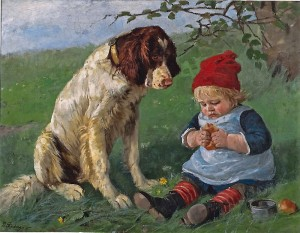 Skal vi dele? Hunden og gutten. Elisabeth Sinding 1885. (Kilde:Listen.no)