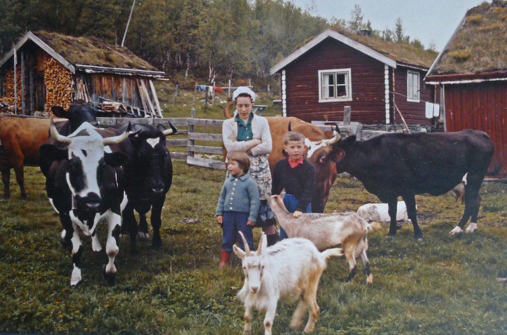 SETERLIVET PÅ 60-TALLET: Jan Erik som ung, tidlig på 1960-tallet, på setra sammen med søster Vigdis og mor Emma. Bjellekua Vennlig til venstra, modell for bjellekua i Rosemalt.